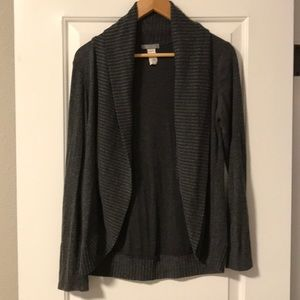 dELIA*S charcoal open cardigan with shawl collar